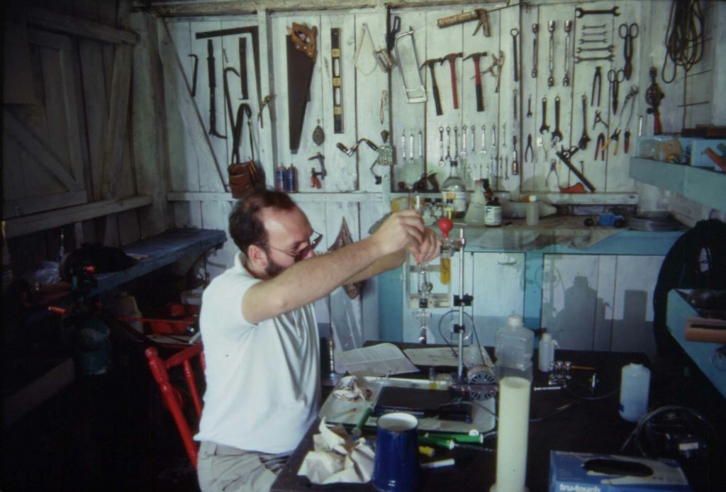 Frank Paladino in his field 'laboratory' using a Scholander respirometry apparatus to measure leatherback metabolic rates.