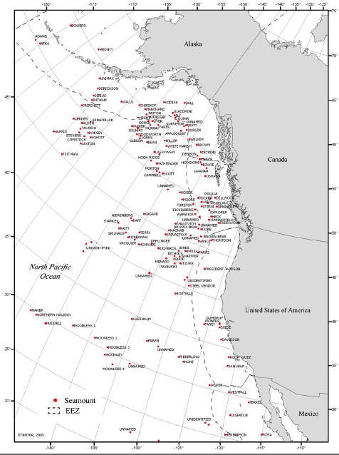 Named and unnamed seamounts in the Norteastern Pacific