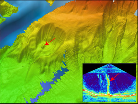 A mysterious plume, possibly a stream of ice-covered methane bubbles (inset arrow), rises about 1.4 kilometers from the seafloor off the coast of California. The plume originates in a previously unknown, amphitheater-shaped scar (main image, arrow) on the ocean bottom about 32 kilometers northwest of California's Cape Mendocino.