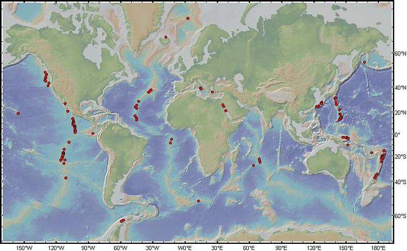 Map of known hydrothermal vent sites at Mid-Ocean Ridges produced by Dr. Sven Petersen (IFM-GEOMAR, Keil), courtesy of ChEss Resources.
