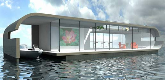4 unique watervilla's Roomburg, Leiden, The Netherlands. Illustration from Waterstudio.NL