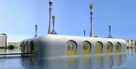 Floating mosque in Dubai. Illustration from Waterstudio.NL