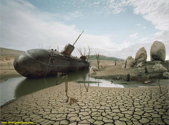 Abandoned submarine, location unknown