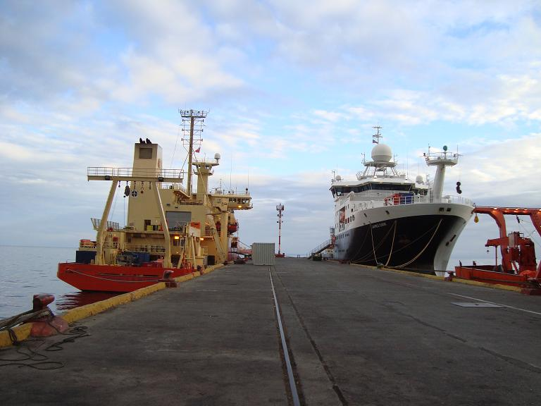 The  James Cook (right, British Antarctic Programme) happened to be right next to our vessel, the Nathaniel B. Palmer (left, United States Antarctic Program) as we were readying for departure in Punta Arenas, Chile.