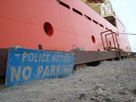 The Palmer asserts its place at the Rothera docks.