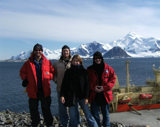Team benthos at Rothera. Dr. Craig Smith (left) and Dr. Laura Grange (center-right) will document how Larsen B seafloor invertebrate communities have changed following ice-shelf collapse. Dr. Mike McCormick (right) will describe bacteria and archaea living in cold-seep sediments. David Honig (center-left) will describe seep-associated invertebrate communities.  The R/V Nathaniel B. Palmer (far right) will demolish fast ice in the name of science.