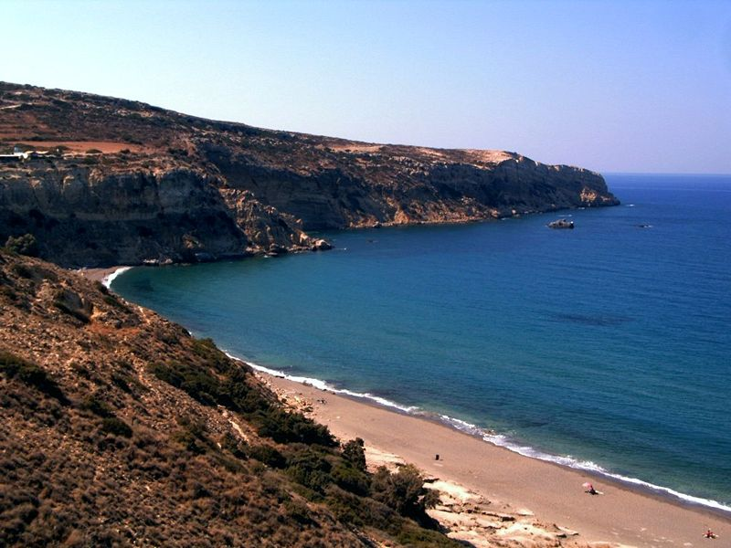 Komos Beach on the south coast of Crete, near Matala Source: Own photo. Crete, 2004 Photographer: Arne Nordmann (norro), Germany From Wikimedia Commons
