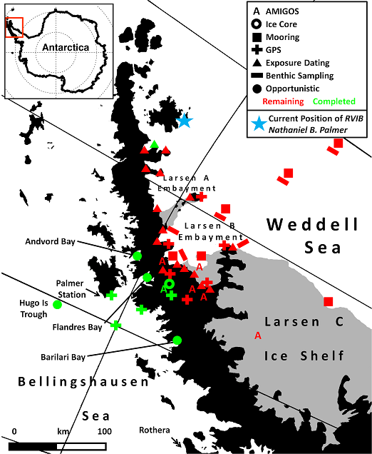 Completed (green) and remaining (red) work on the 2010 LARISSA field campaign.  Unless ice conditions improve, we may not reach many of our sampling sites.
