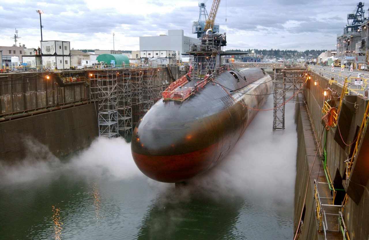 USS Ohio in dry dock, Puget Sound Naval Shipyard. US Navy file photo.