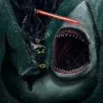 Batman + Lightsaber + Shark. That is all.