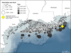 Map from Swordpress detailing depths and locations of oil platforms in Gulf of Mexico