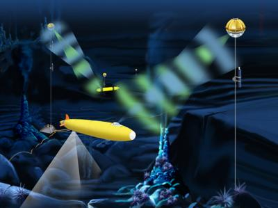 Illustration shows how the optical modem could function at a deep ocean cabled observatory. Autonomous underwater vehicles (AUVs) collect sonar images (downward bands of light) and other data at a hydrothermal vent site and transmit the data through an optical modem to receivers stationed on moorings in the ocean. The moorings are connected to a cabled observatory, and the data are sent back to scientists on shore. Scientists, in turn, can send new instructions to the AUVs via the optical modem as well. (E. Paul Oberlander, Woods Hole Oceanographic Institution)