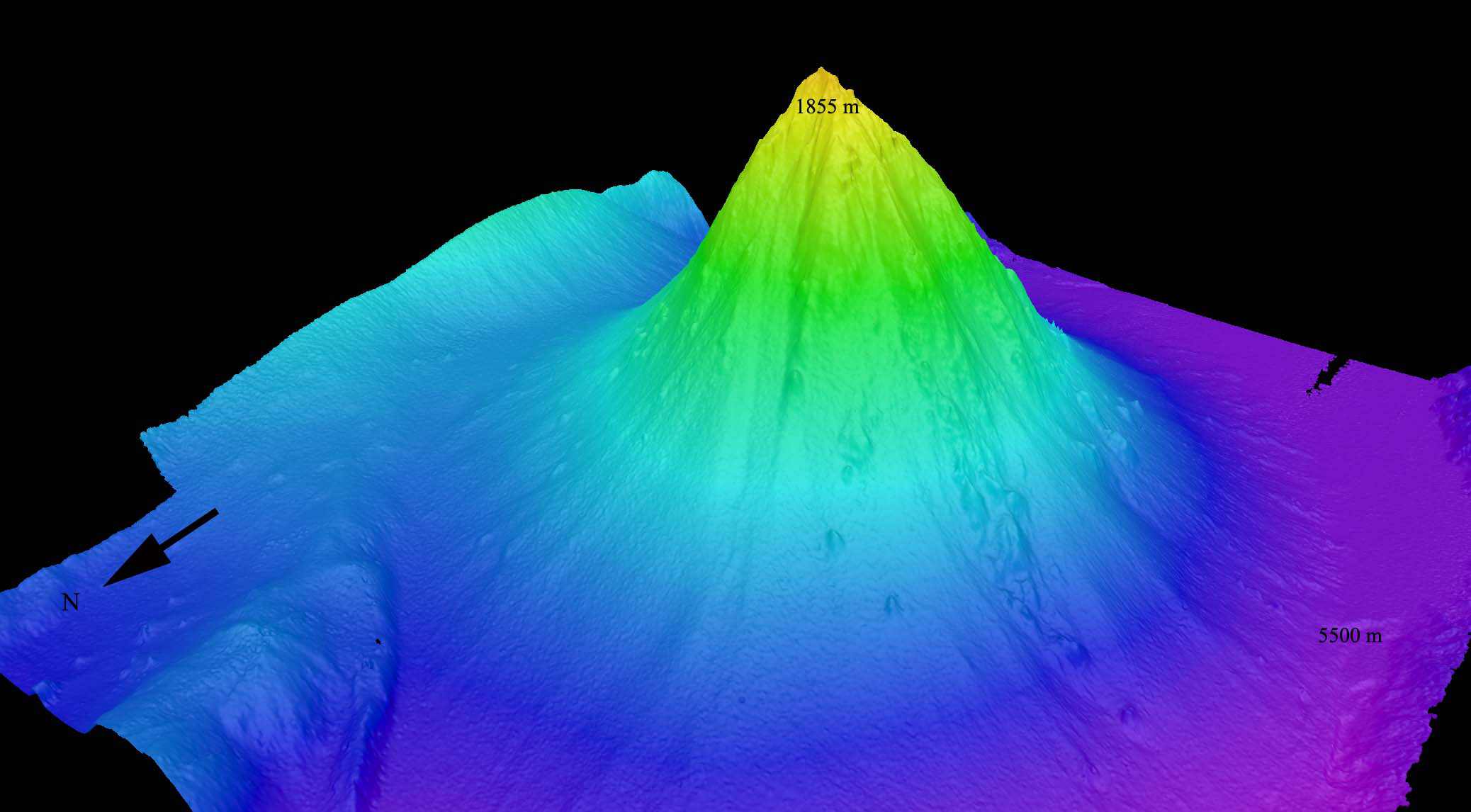"This is a perspective view of the Kawio Barat (West Kawio) seamount looking from the northwest. The underwater volcano rises around 3,800 meters from the seafloor.  High resolution (Credit: Image courtesy of INDEX 2010: ""Indonesia-USA Deep-Sea Exploration of the Sangihe Talaud Region."")"