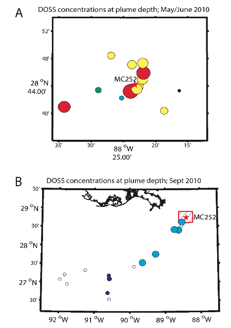 Map view of DOSS concentrations at plume depth (∼1000-1200 m) in May/June (A) and in September (B) 2010. Color and size of dots indicate concentration magnitude in each plot. White = below detection; blue = 9.1 μg L-1. Black indicates samples taken at this location but not in plume depth horizon. The Deepwater Horizon oil spill site (MC-252) is denoted with a red star in both plots. The red hatched box in (B) denotes the subregion represented by (A). [Figure caption from Kujawinski et al. 2010]