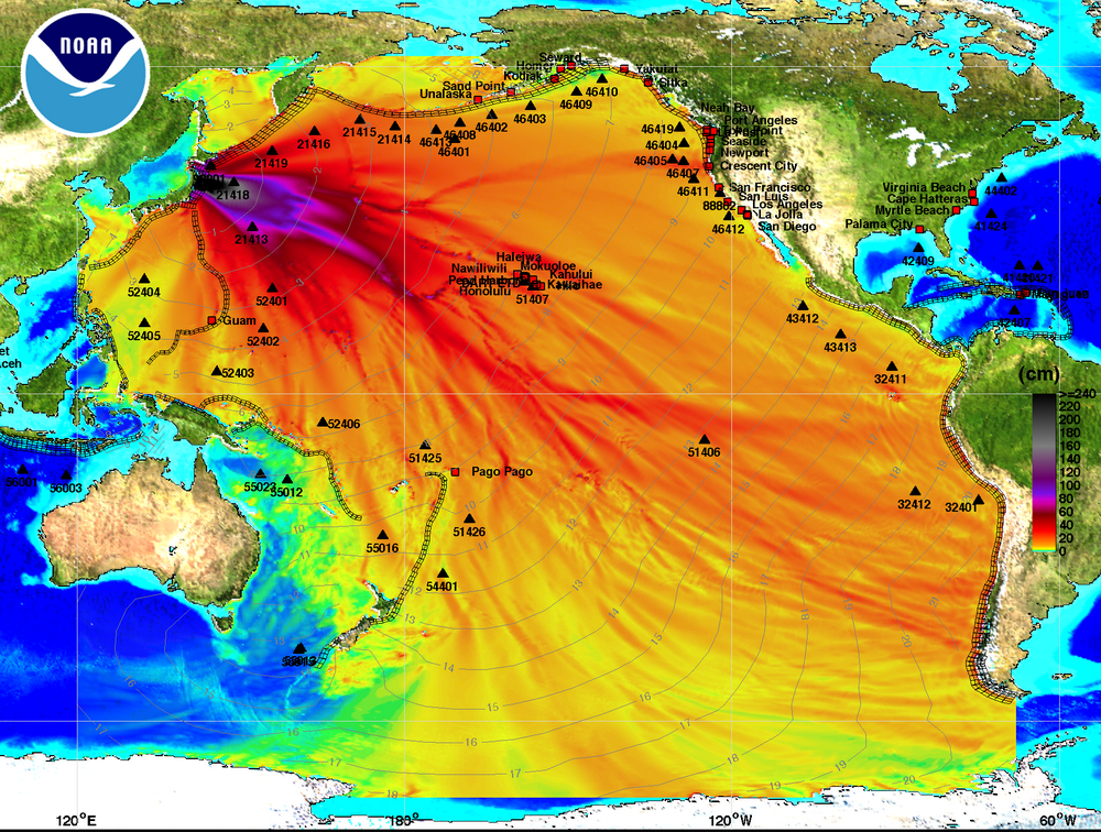 Energy plot from March 11, 2011 Honshu Tsunami. Filled colors show maximum computed tsunami amplitude in cm during 24 hours of wave propagation. Black contours show computed tsunami arrival time. © 2011, NOAA