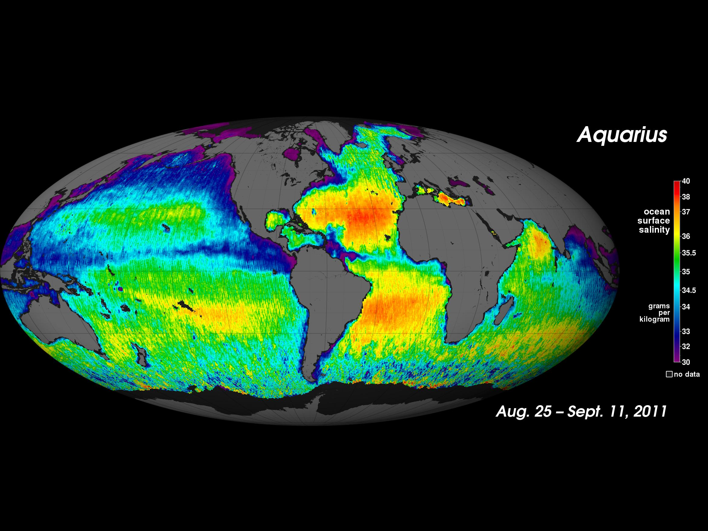 Composite map of the first two and a half weeks of salinity data since Aquarius satellite became operational on August 25; © 2011, NASA AQuarius Project
