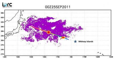 The map shows the stretch of Pallada's route where debris was sighted between September 21 and 28, 2011. The red rhombus marks the location where the Japanese boat was found and the red circle denotes maximum debris density experienced. Purple color shows the distribution of the tsunami debris in the SCUD model on September 25.
