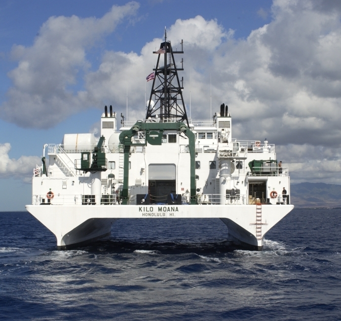R/V KILO MOANA operated by the University of Hawaii Marine  designed to operate in coastal and blue water areas. The unique SWATH hull form provides a comfortable, stable platform in high sea conditions.
