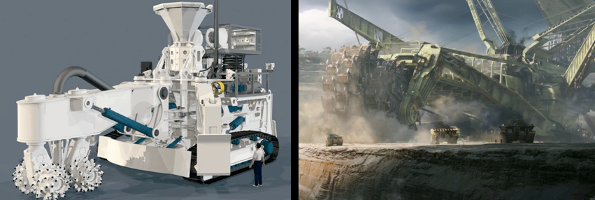 Image on left: Seafloor Production Tools (SPTs) that will be operated off the coast of Papua New Guinea by Nautilus Minerals to extract copper and gold from high grade seafloor massive sulphide deposits.  Image on Right: Fictitois Bucket-Wheel Excavator used to extract unobtanium from Pandora in Avatar film.