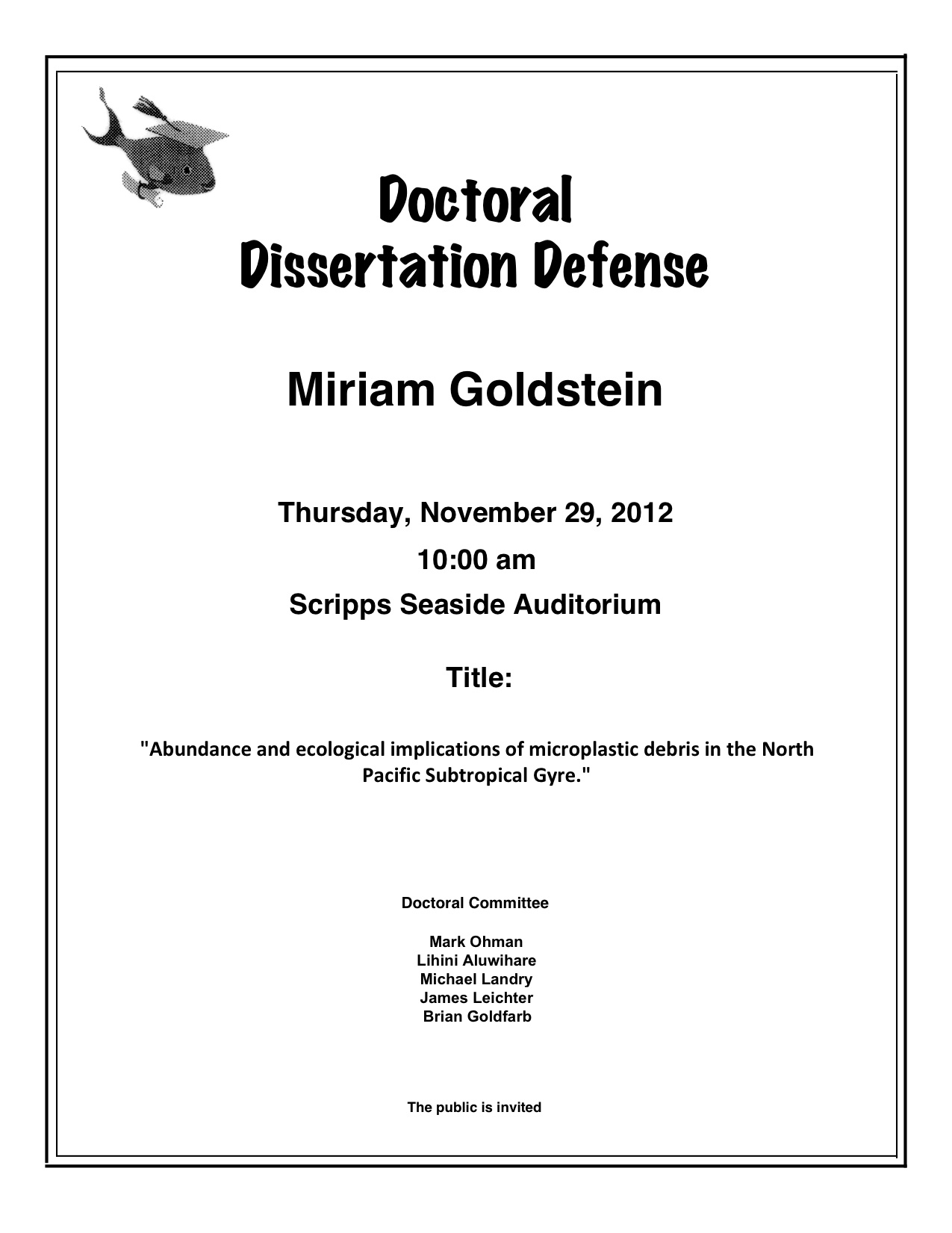 Doctoral dissertation oral defense