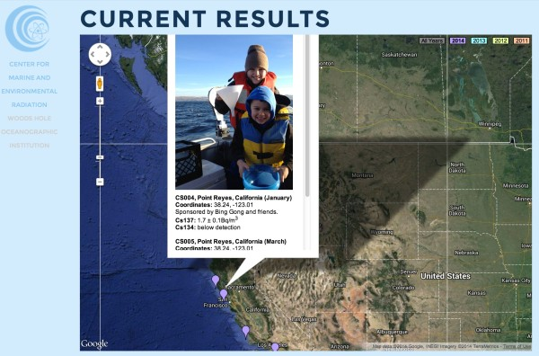Young scientists from California sampling seawater for the people [screenshot from ourradioactiveoceans.org]