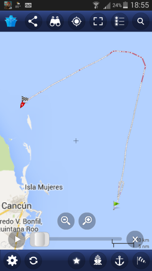 AIS track of the chemical tanker Atlantic Sun