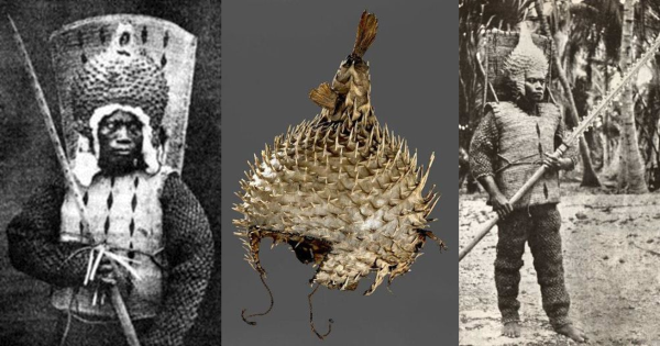 Spotted Porcupine Fish battle helmet. Left, warrior fro m Nauru, right, warrior from Kiribati also bearing a shark-tooth spear..