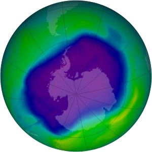 Ozone hole over the South Pole, Sept 2006 (image from Wikipedia)