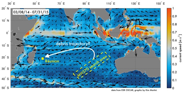 How Currents Pushed Debris From The Missing Malaysian Air Flight - Oceanographic map
