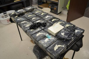 30 kilos of pure, dolphin-unsafe Gulf Cartel blow.  Photo courtesy of the Galveston Police Department.