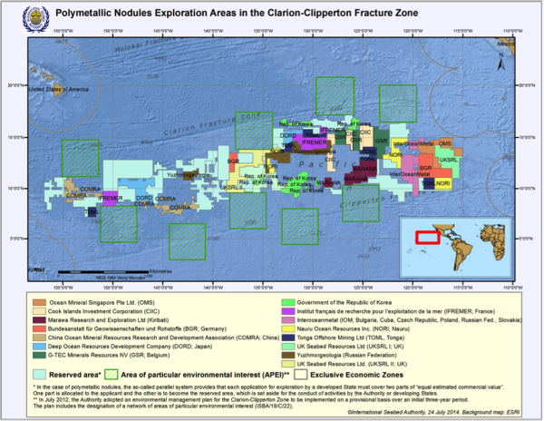 Exploration claim areas in the Clarion-Clipperton Zone. Downloaded from the ISA website.