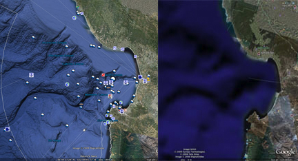 Monterey Bay Canyon in Google Earth 5.0 (left) and early versions (right).