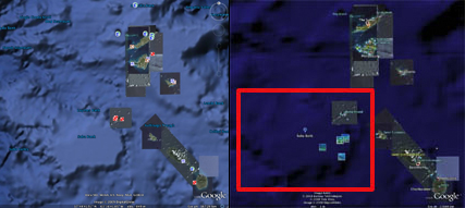 Saba Bank, Netherlands Antilles in Google Earth 5.0 (left) and earlier versions (right).