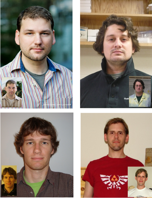 Top Right - sexiest deep sea biologist, Kevin Z; Top Left - second sexiest deep sea biologist, Souther Fried Scientist; Bottom Right - just another sexy PhD candidate in deep sea biology, David; Bottom Left - not a deep sea biologist, but sexy nonetheless, Irradiatus from Biochemical Soul