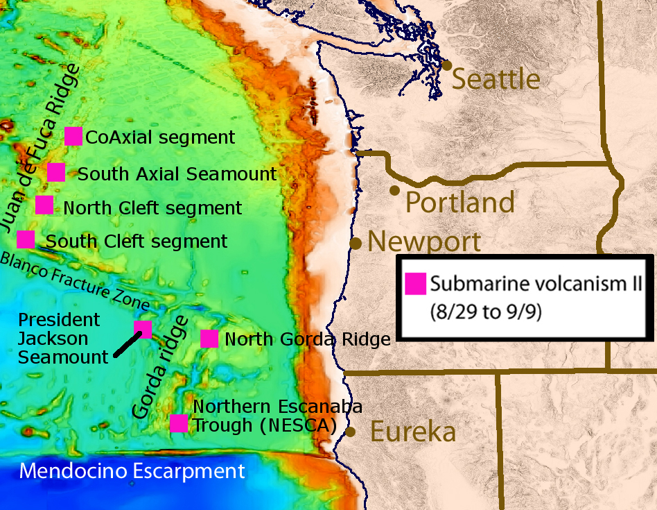 Map of the dive sites visited on leg 5 of the expedition.  Map courtesy of MBARI