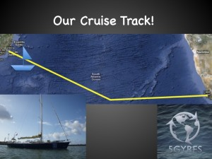 5 Gyres cruise track across South Atlantic