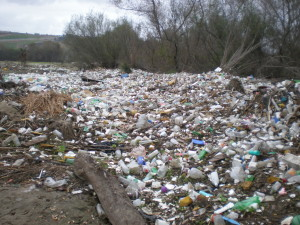 Plastic trash on the banks of the Tijuana River in San Diego, CA