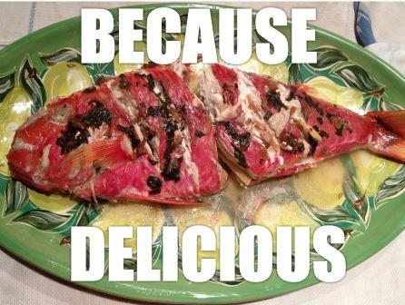 Whitesaddled Goatfish, cooked Hawaiian-style. Photo from Eco-Chic Economist.