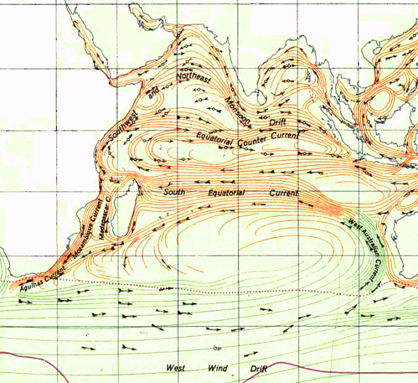 Historical map of the Indian Ocean Gyre.
