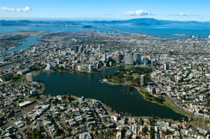 Lake Merritt, oa salt-water lagoon, now the heart of Oakland. Photo by Chamois Moon.