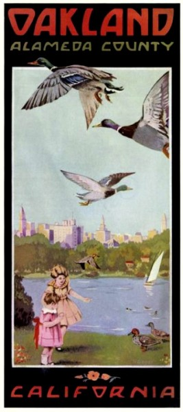 The Idyllic urban nature refuge of Lake Merritt, as depicted in this tourism brochure from the 1920's.